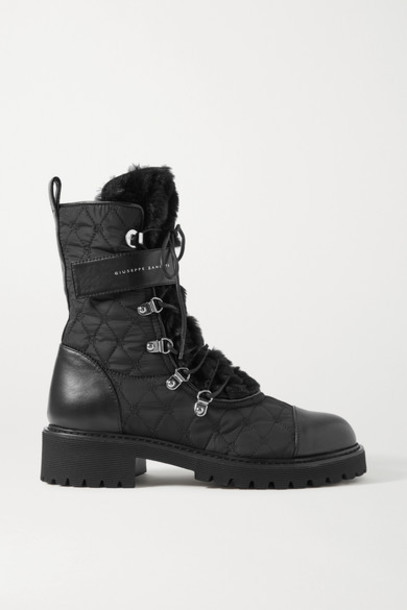 Giuseppe Zanotti - Cornelia Leather-trimmed Shearling And Quilted Shell Ankle Boots - Black
