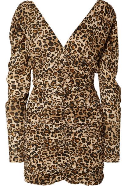 Nicholas - Ruched Leopard-print Silk-crepe Mini Dress - Leopard print