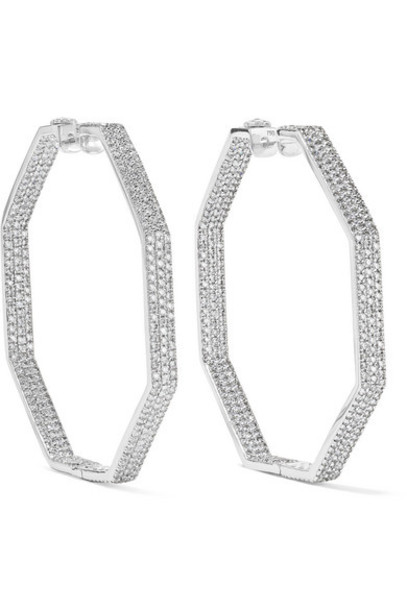 Ofira - Geo 18-karat White Gold Diamond Earrings