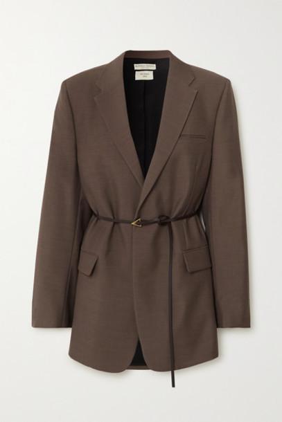 Bottega Veneta - Oversized Belted Mélange Wool Blazer - Brown