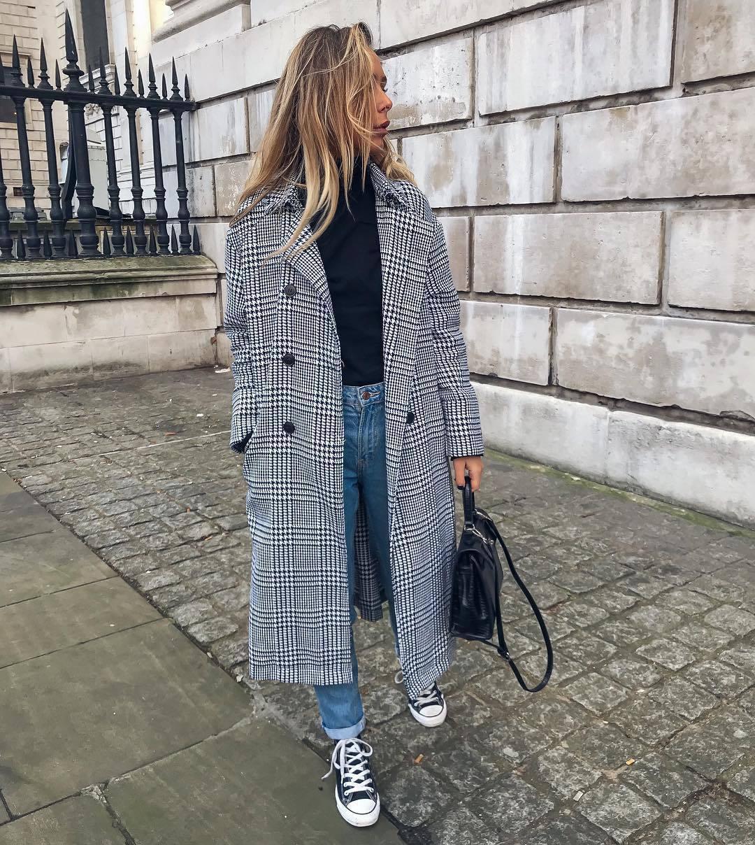 coat long coat double breasted converse denim jeans black top black bag