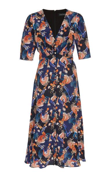 Saloni Eve Printed Silk Chiffon Midi Dress Size: 6 in print