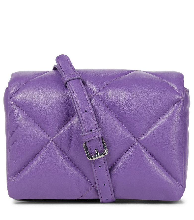 Stand Studio Brynn quilted leather shoulder bag in purple