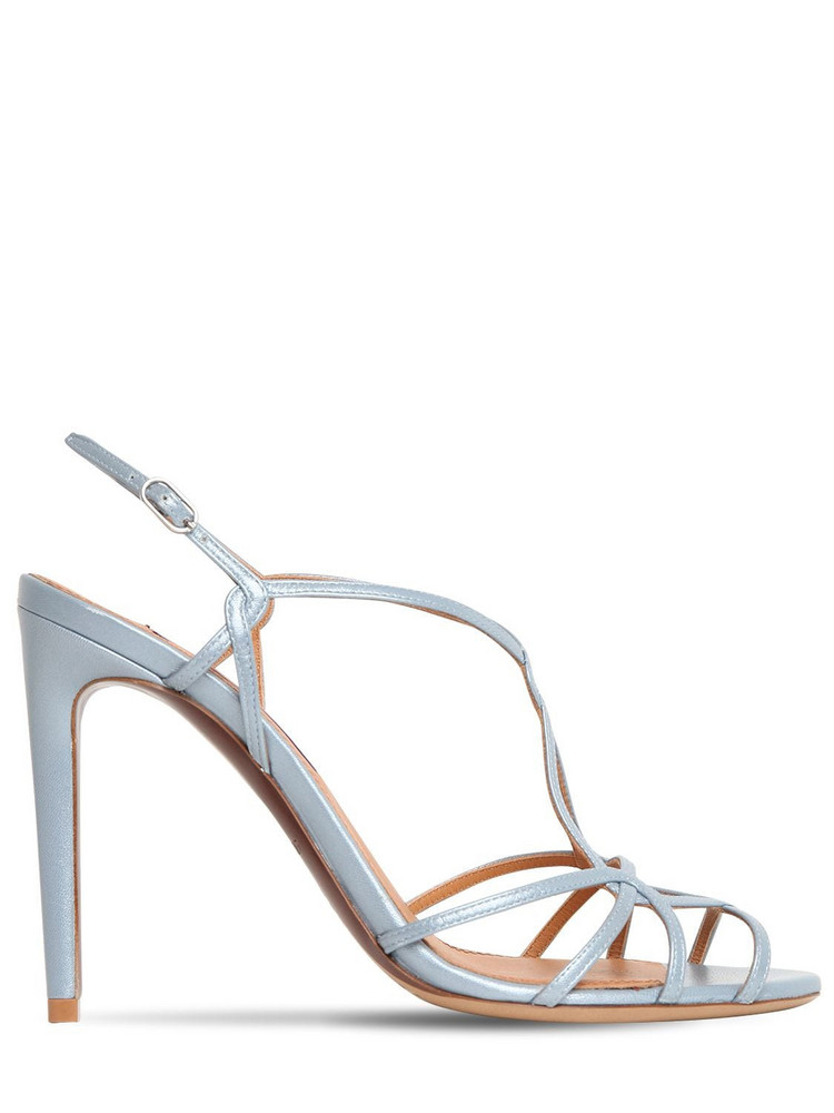 RALPH LAUREN 100mm Metallic Leather Sandals in blue
