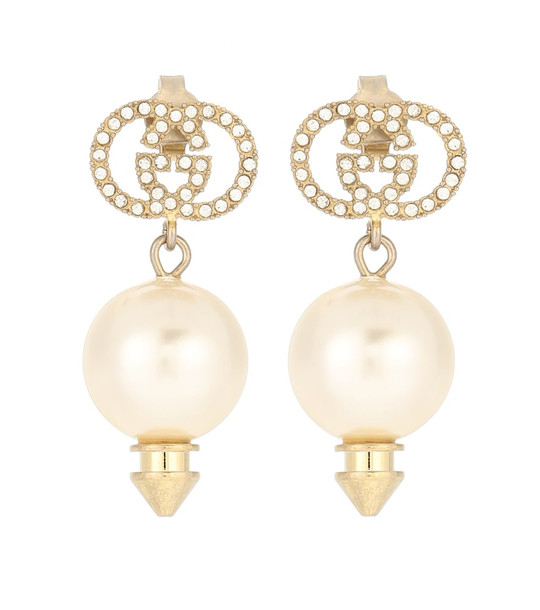 Gucci GG crystal-embellished earrings in white