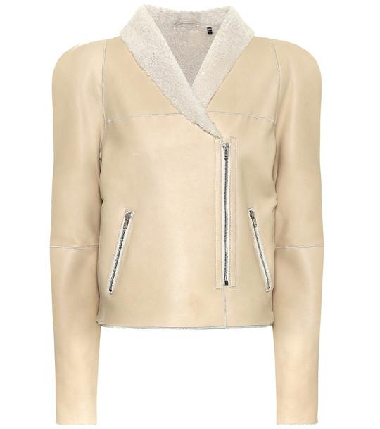 Isabel Marant Octavie leather jacket in beige