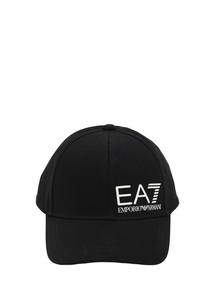 EA7 EMPORIO ARMANI Logo Cotton Canvas Baseball Hat in black