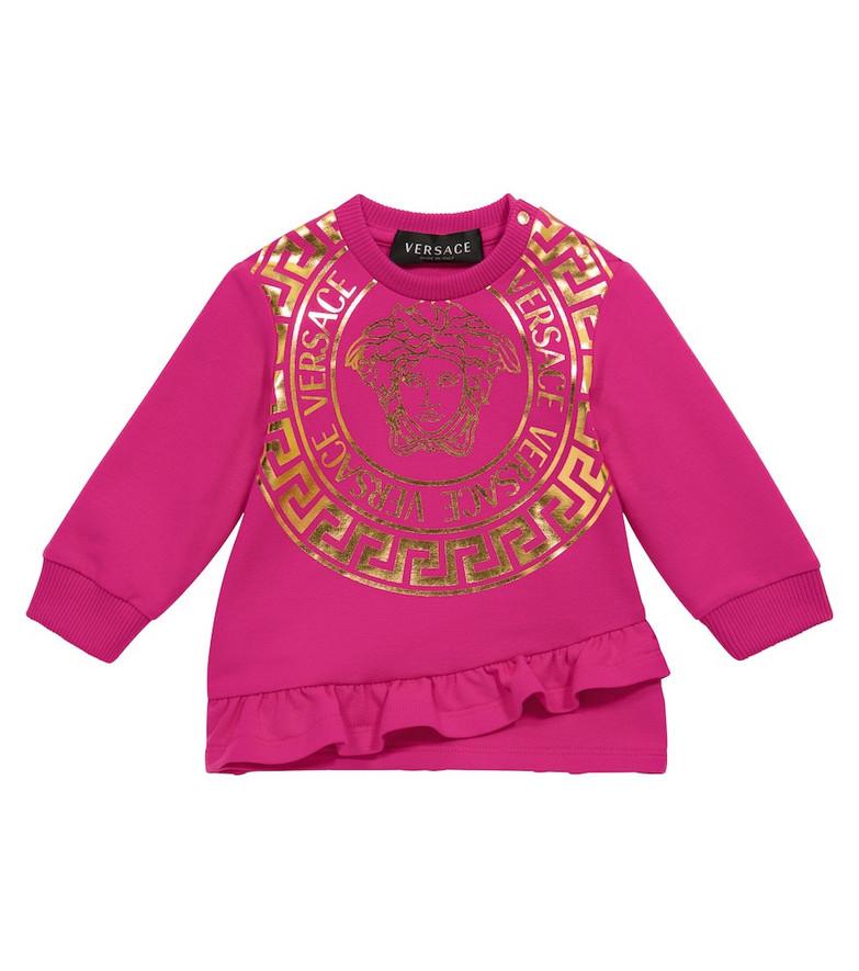 Versace Kids Baby Medusa stretch-cotton sweatshirt dress in pink