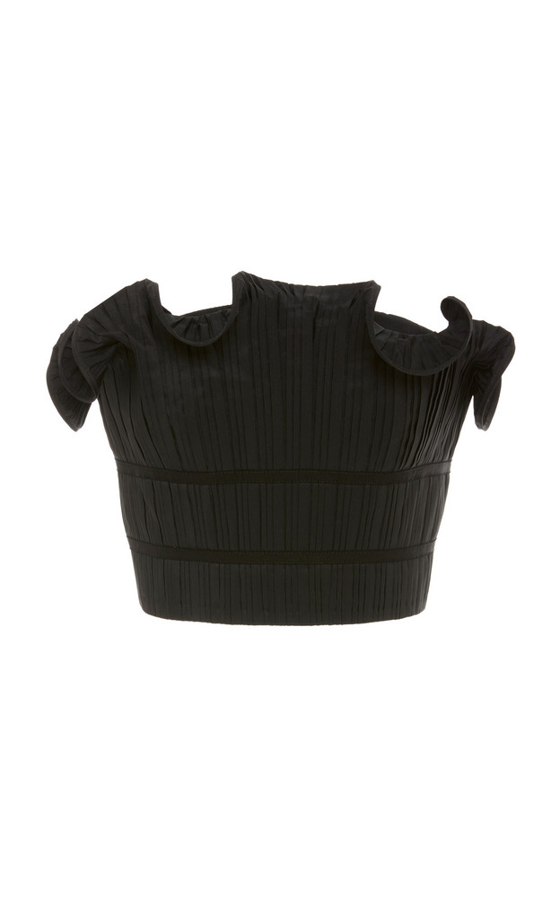 AMUR Oriel Ruffle-Trimmed Plissé Top in black