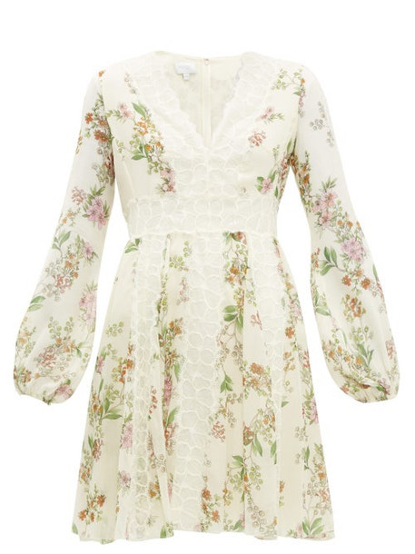 Giambattista Valli - Floral Print Lace Insert Silk Dress - Womens - Ivory Multi
