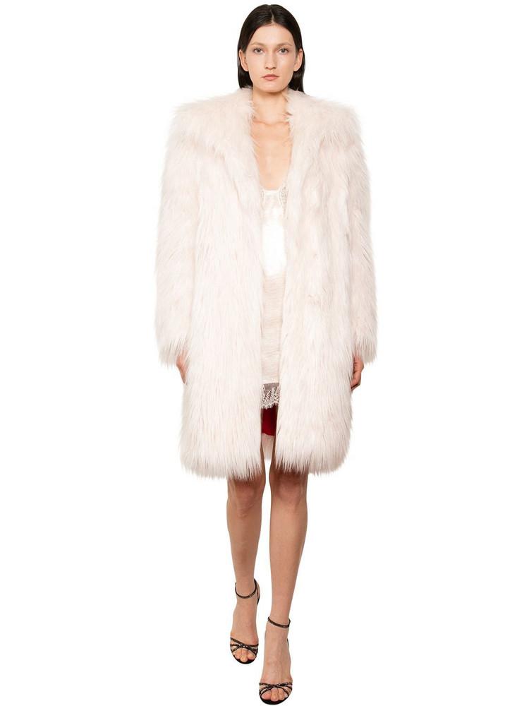 PHILOSOPHY DI LORENZO SERAFINI Long Faux Fur Coat in blush