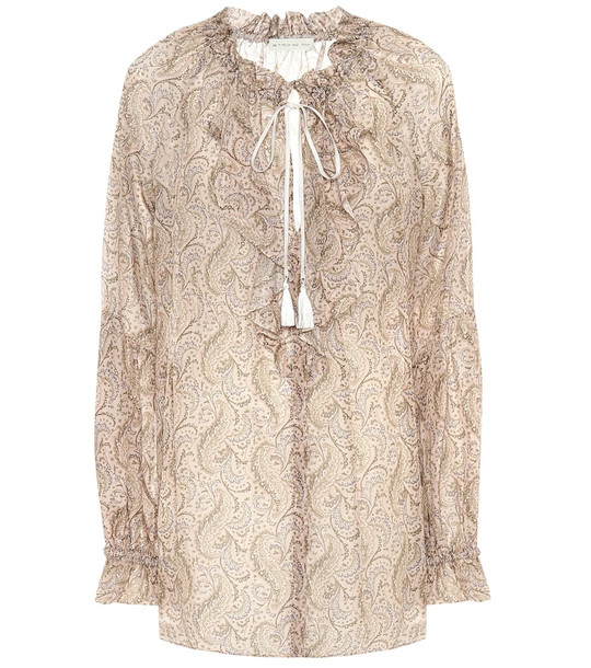 Etro Paisley cotton and silk blouse in beige
