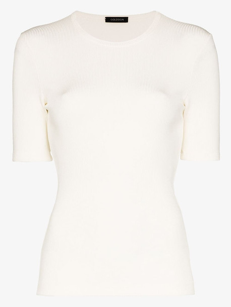 GOLDSIGN Ribbed crew neck T-shirt in white