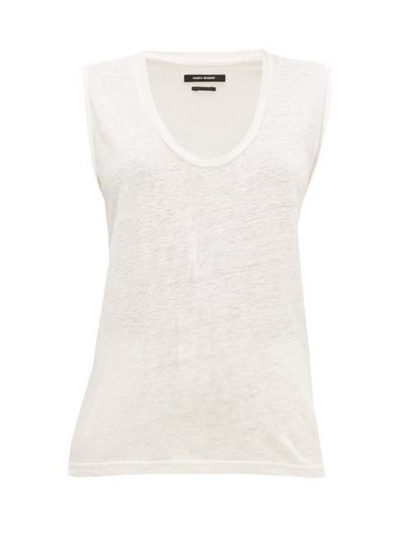 Isabel Marant - Maik Scoop Neck Linen Top - Womens - White