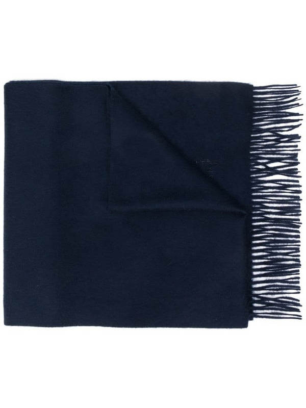 Mackintosh Navy Cashmere Embroidered Scarf - ACC-013/E in blue