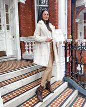 coat,faux fur coat,ankle boots,snake print,leather pants,skinny pants,white sweater