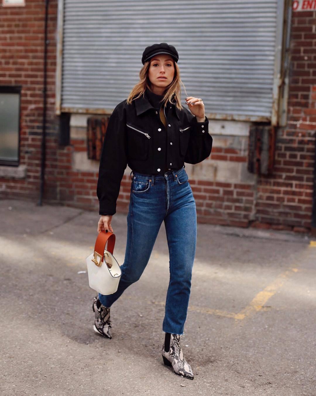 jacket black jacket cropped jacket high waisted jeans ankle boots snake print white bag belt
