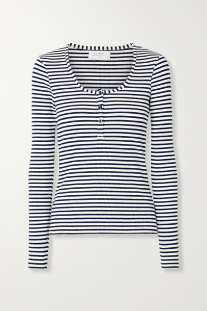 La Ligne - Dominique Striped Ribbed Stretch-cotton Jersey Top - White