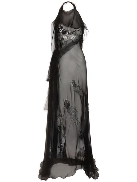 VALENTINO Silk Chiffon Lace Gown in black