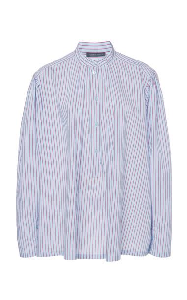 Alberta Ferretti Striped Poplin Collarless Shirt Size: 36