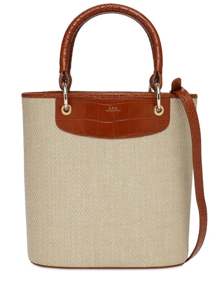 A.P.C. Sm Cabas Lila Canvas & Leather Bag
