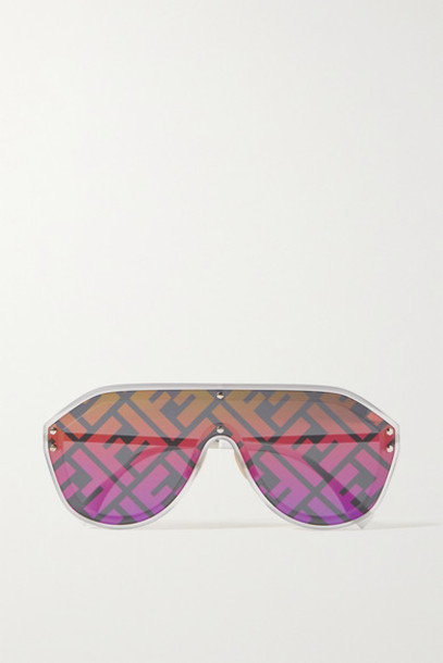 Fendi - Oversized Aviator-style Silver-tone And Acetate Mirrored Sunglasses