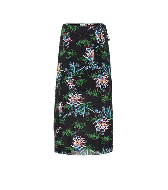Kenzo Floral midi skirt in black