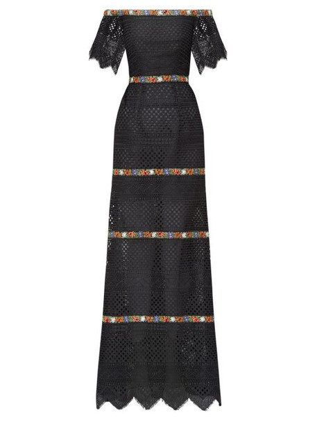 Carolina Herrera - Floral-embroidered Guipure-lace Bardot Dress - Womens - Black Multi
