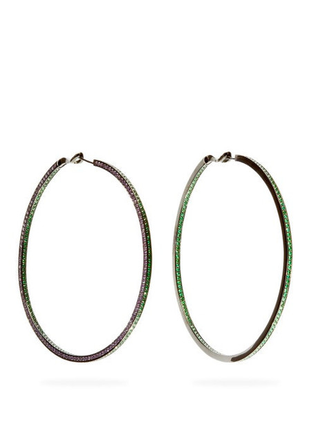 Lynn Ban - Duotone Lab Sapphire & Rhodium Plated Earrings - Womens - Green
