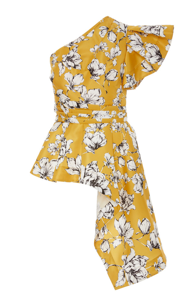 AMUR Liberty Floral-Patterned One-Shoulder Blouse in print