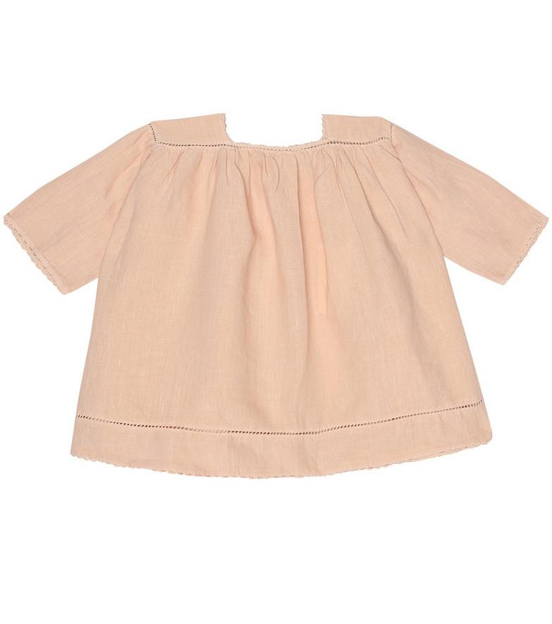 Caramel Baby Wimbledon linen dress in pink