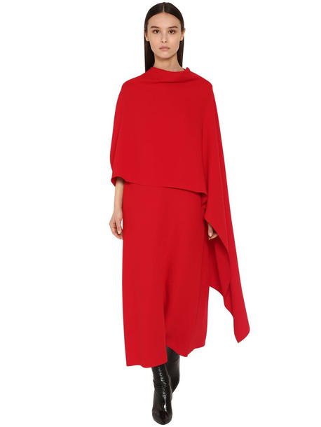 VALENTINO Long Silk Cady Cape Dress in red