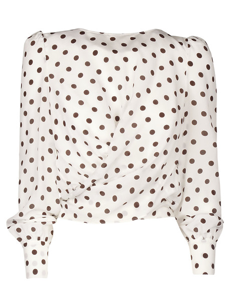 Alessandra Rich Polka Dot Blouse in white