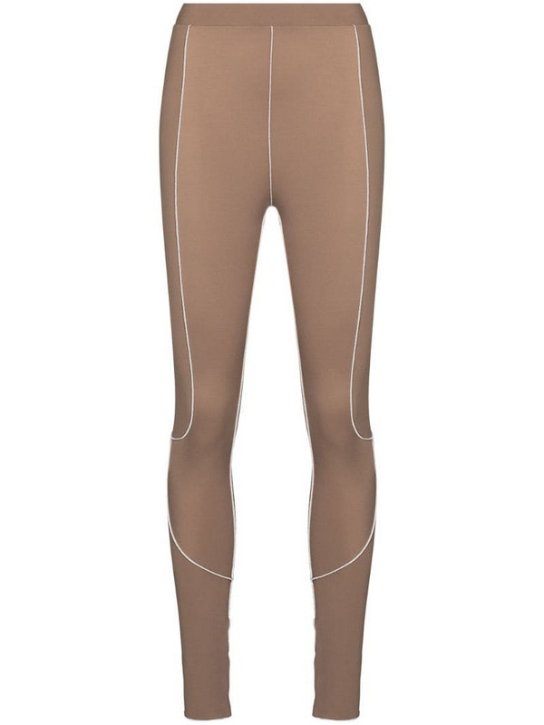 Fantabody Topstitched leggings in brown