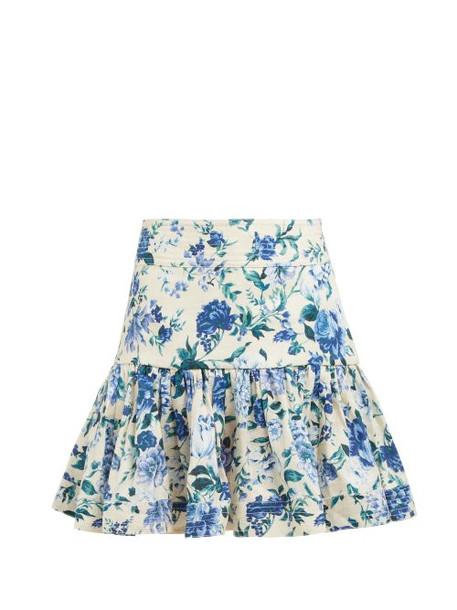 Zimmermann - Moncur Flounce Floral Printed Mini Skirt - Womens - Blue Print