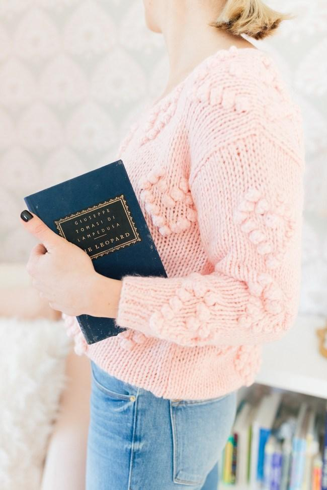 lemon stripes blogger sweater jeans pink sweater