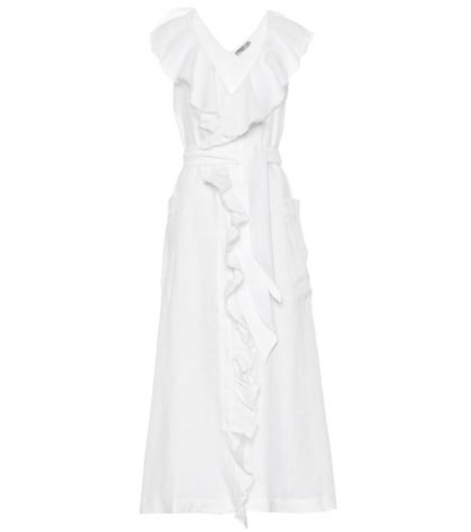 Three Graces London Exclusive to Mytheresa – Mabel linen midi dress in white