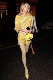 jacket,yellow,elsa hosk,model off-duty,mini skirt,print,tights