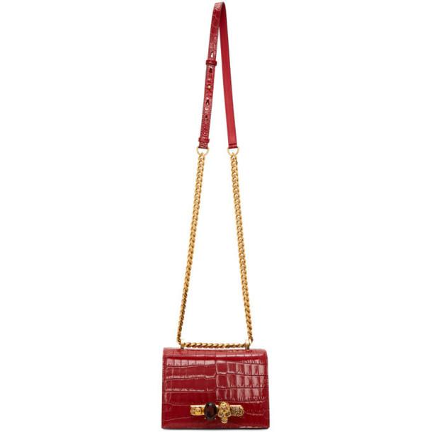 Alexander McQueen Red Small Croc Jewelled Satchel Bag