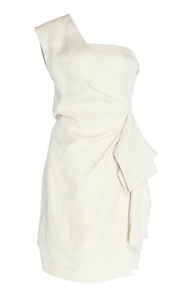 Victoria Victoria Beckham One-Shoulder Pleated Crepe Mini Dress Size: in white