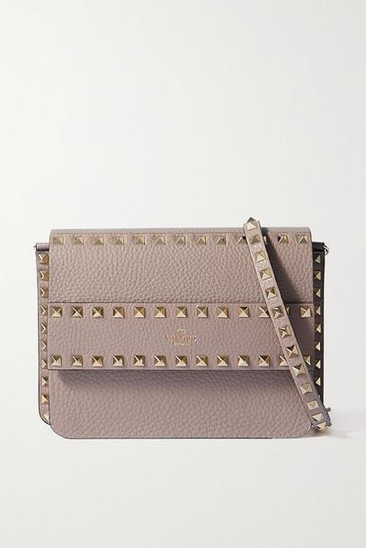 Valentino - Valentino Garavani Rockstud Textured-leather Shoulder Bag - Pink