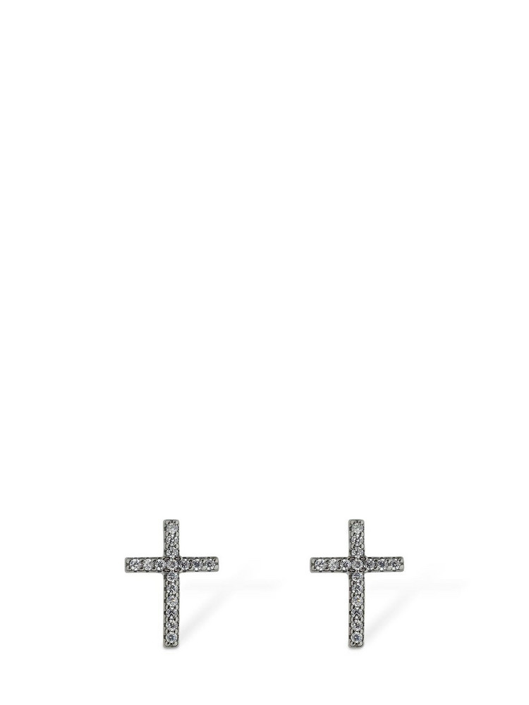 FEDERICA TOSI Faith Crystal Stud Earrings in black