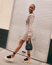 dress,mini dress,ruffle,animal print,platform sandals,black bag