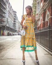 dress,midi dress,satin,pumps,white bag,handbag,summer dress