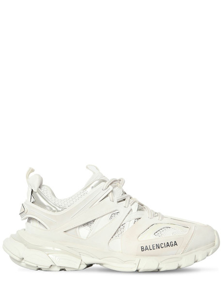 BALENCIAGA 30mm Track Faux Leather & Mesh Sneakers in white