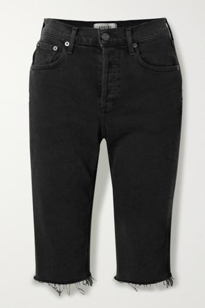 AGOLDE - Carrie Frayed Denim Shorts - Black