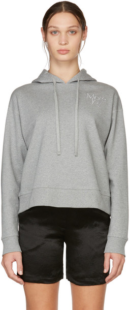 More Joy Grey Cropped Embroidered Logo Hoodie