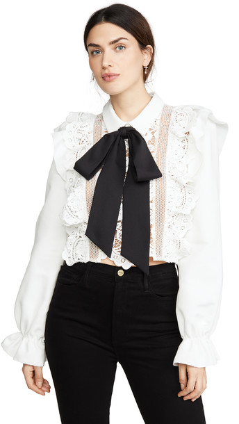 Self Portrait Flower Lace Tie Top in white