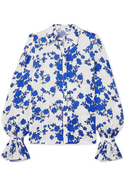 Carolina Herrera - Floral-print Satin Blouse - Blue
