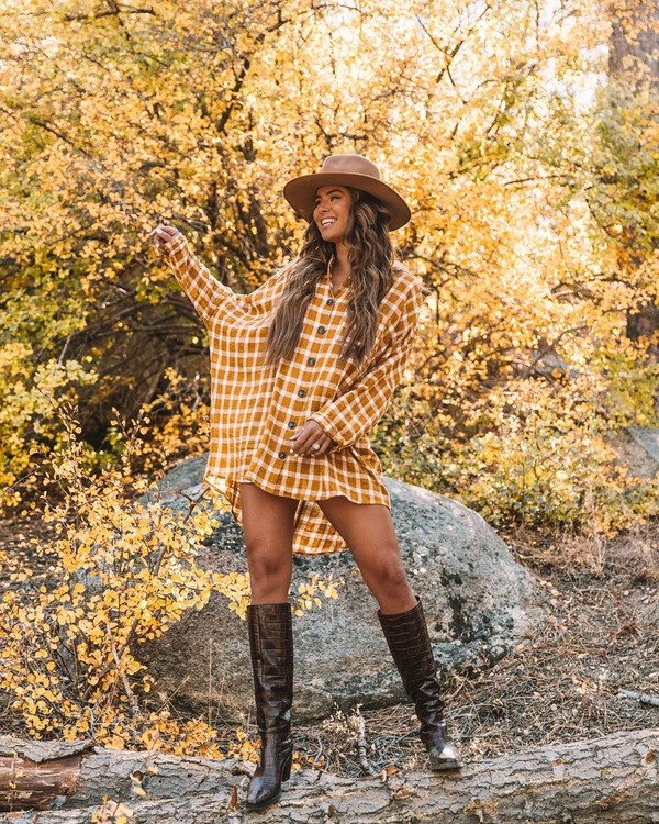 dress tunic plaid knee high boots miu miu hat